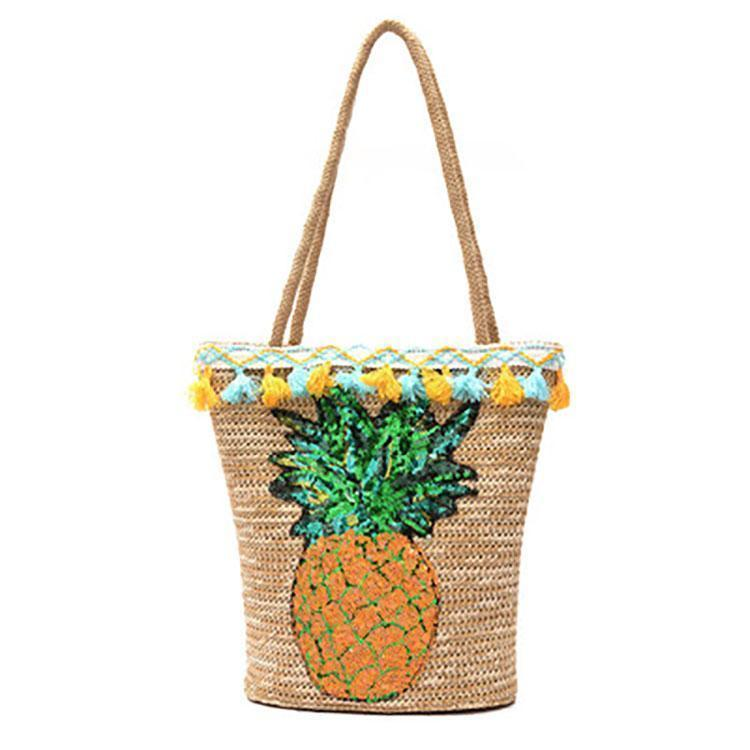 Pineapple Straw Sequin Beach Hand Bag