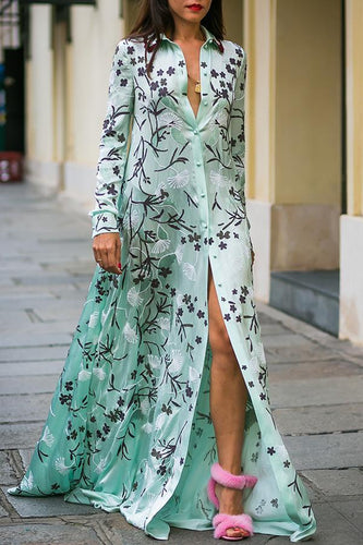 Sexy Floral Print Long Sleeves Maxi Dress