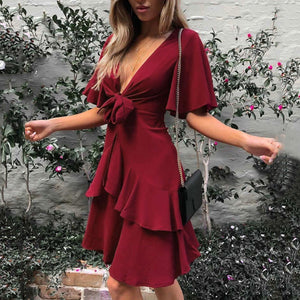 Sexy Plain Short Sleeves Stitching Mini Dress