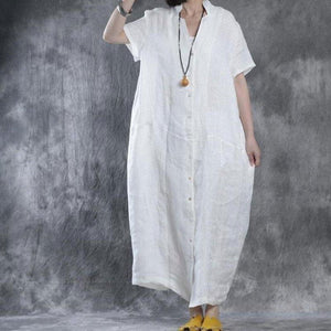 Women Summer Loose Fit Retro Linen Maxi Dress