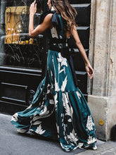 Sexy One-Shoulder Floral Print Stitching Maxi Dress