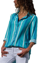 Load image into Gallery viewer, Turn Down Collar  Single Breasted  Striped  Blouses