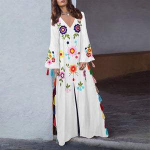 Cotton Vintage Printed V-Neck Bohemian Fringed Maxi Dress
