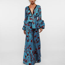 Load image into Gallery viewer, Sexy Deep V Collar Floral Printed Elastic Waist Jumpsuit