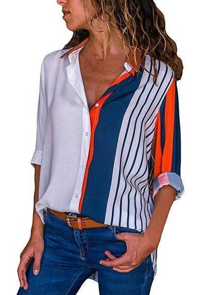 Long Sleeve Colorblock Rainbow Vertical Button Blouses