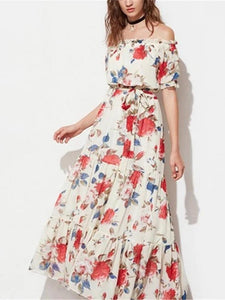 Word Shoulder Leaf Side Chiffon Print Dress