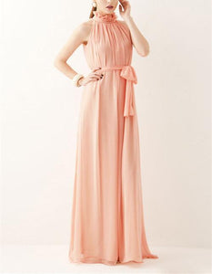 A Bohemian Gown With A Round Collar And A Chiffon Dress