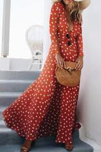 Load image into Gallery viewer, Fashion Casual Slim Dot Deep V Collar Long Sleeve Vacation Dress