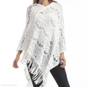 Tassel Cloak Pure Color Large Size Sweater