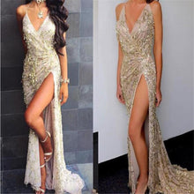 Load image into Gallery viewer, Elegant Sexy Sequin Deep V Collar Sleeveless Braces Fork Evening Dress