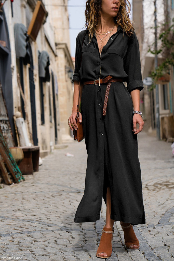 Fashion Loose Long-Sleeved Shirt Long Skirt
