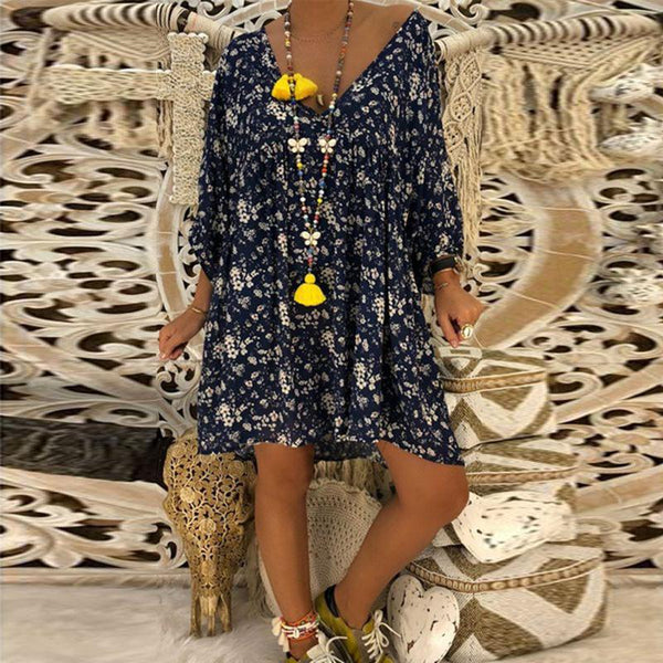 Women Plus Size V Neck Floral Printed 3/4 Sleeve Casual Mini Dress