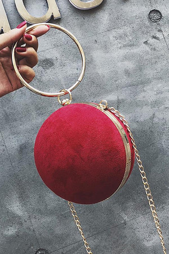 Fashion Elegant Plain Round Shape One Shoulder Small Evening Hand Bag