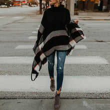 Load image into Gallery viewer, Turtle Neck Color Block Loose Knitting Cape