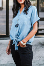 Load image into Gallery viewer, Short Sleeved Solid Color Denim Casual Top