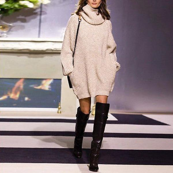 High-Collar Long-Sleeved Knitted Sweater
