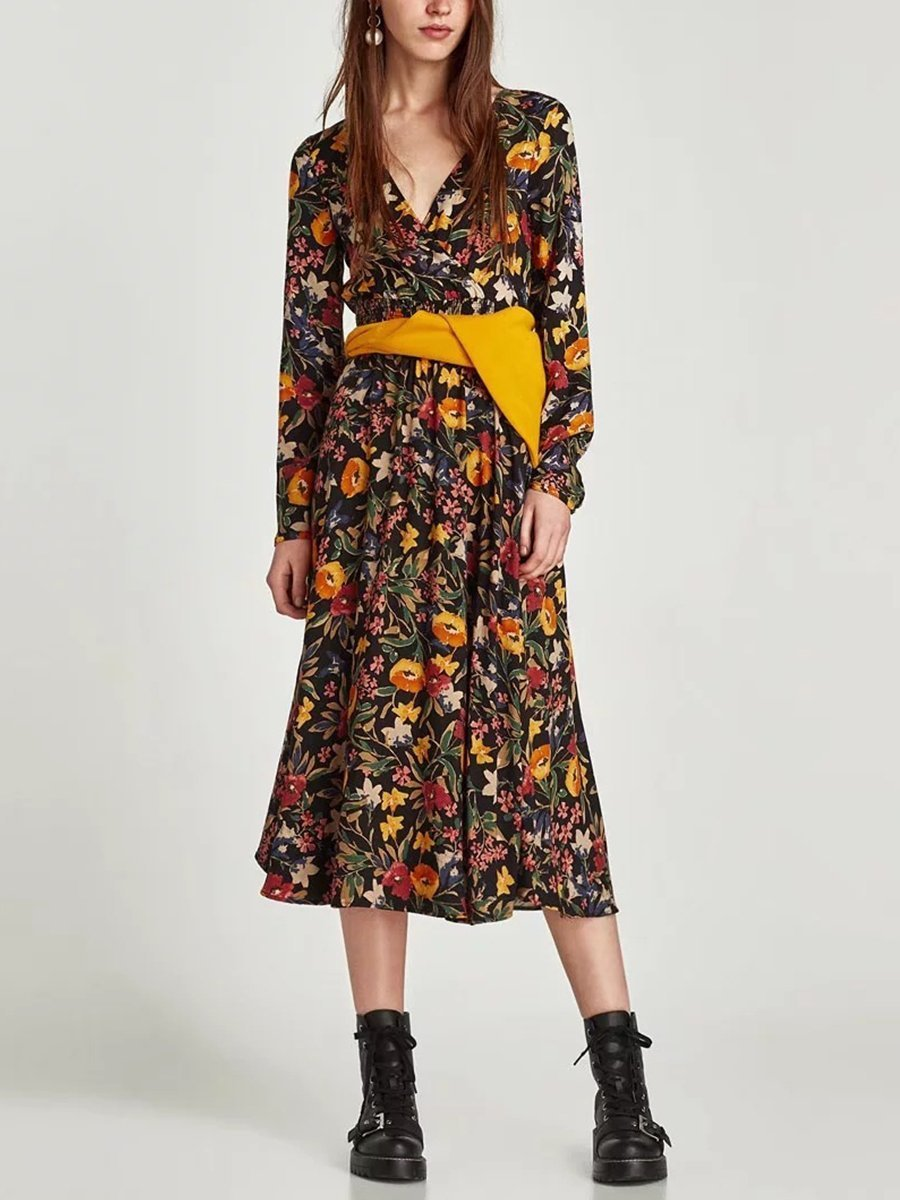 V-Neck Cross Floral Long-Sleeved Dress