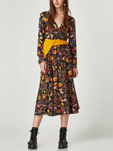Load image into Gallery viewer, V-Neck Cross Floral Long-Sleeved Dress