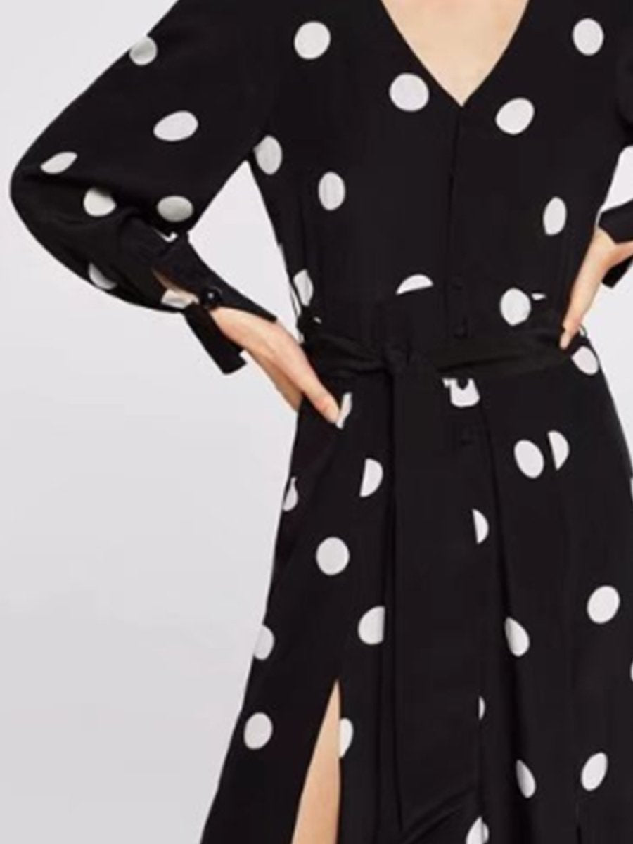 Elegant Polka-Dot V-Neck Skater Dress