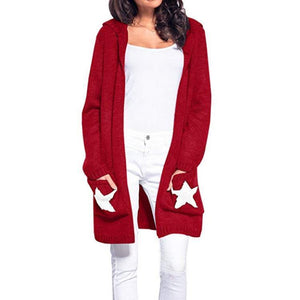 Hooded Star Pocket Long Sleeve Casual Cardigans