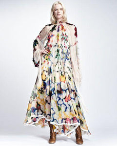 Retro Lapel Long-Sleeve Printed Chiffon Maxi Dress