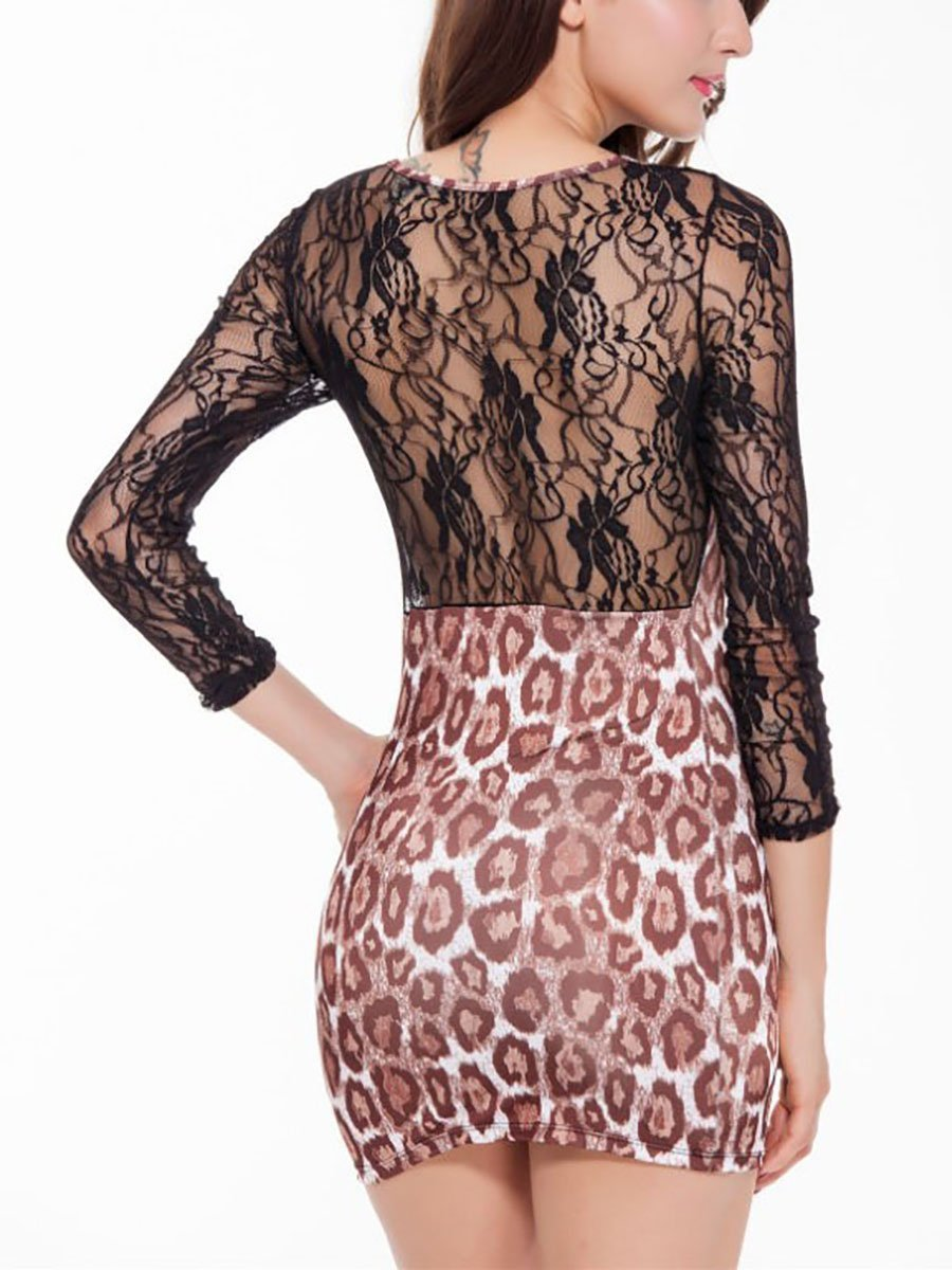 Crew Neck  Cutout Decorative Lace See-Through  Crochet  Lace Bodycon Dresses