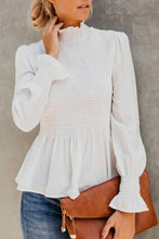 Load image into Gallery viewer, High Neck  Plain  Bell Sleeve  Blouses