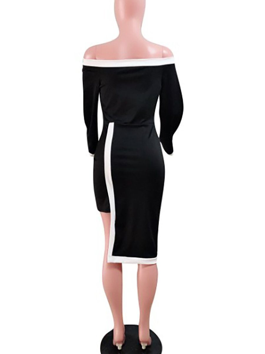 Off Shoulder  Asymmetric Hem Cutout Patchwork  Contrast Stitching  Plain Striped  Bell Sleeve Bodycon Dresses
