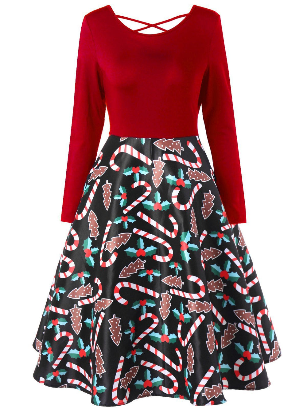 Christmas Crutch Print Long-Sleeved Dress