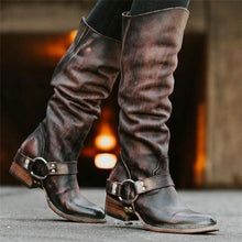 Load image into Gallery viewer, Stylish Leather Plain Thermal High Tube Knight Boots