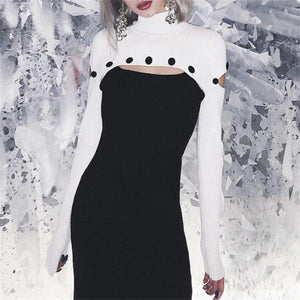 Sexy Stylish Slim Black & White Joint High Collar Long Sleeve Bodycon Dress