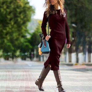 Round Neck Pure Colour   Long Sleeve Dress