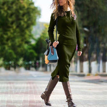 Load image into Gallery viewer, Round Neck Pure Colour   Long Sleeve Dress