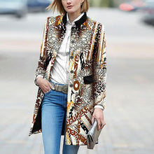 Load image into Gallery viewer, Retro Fashion Slim Print Long Sleeve Coat Cardigan
