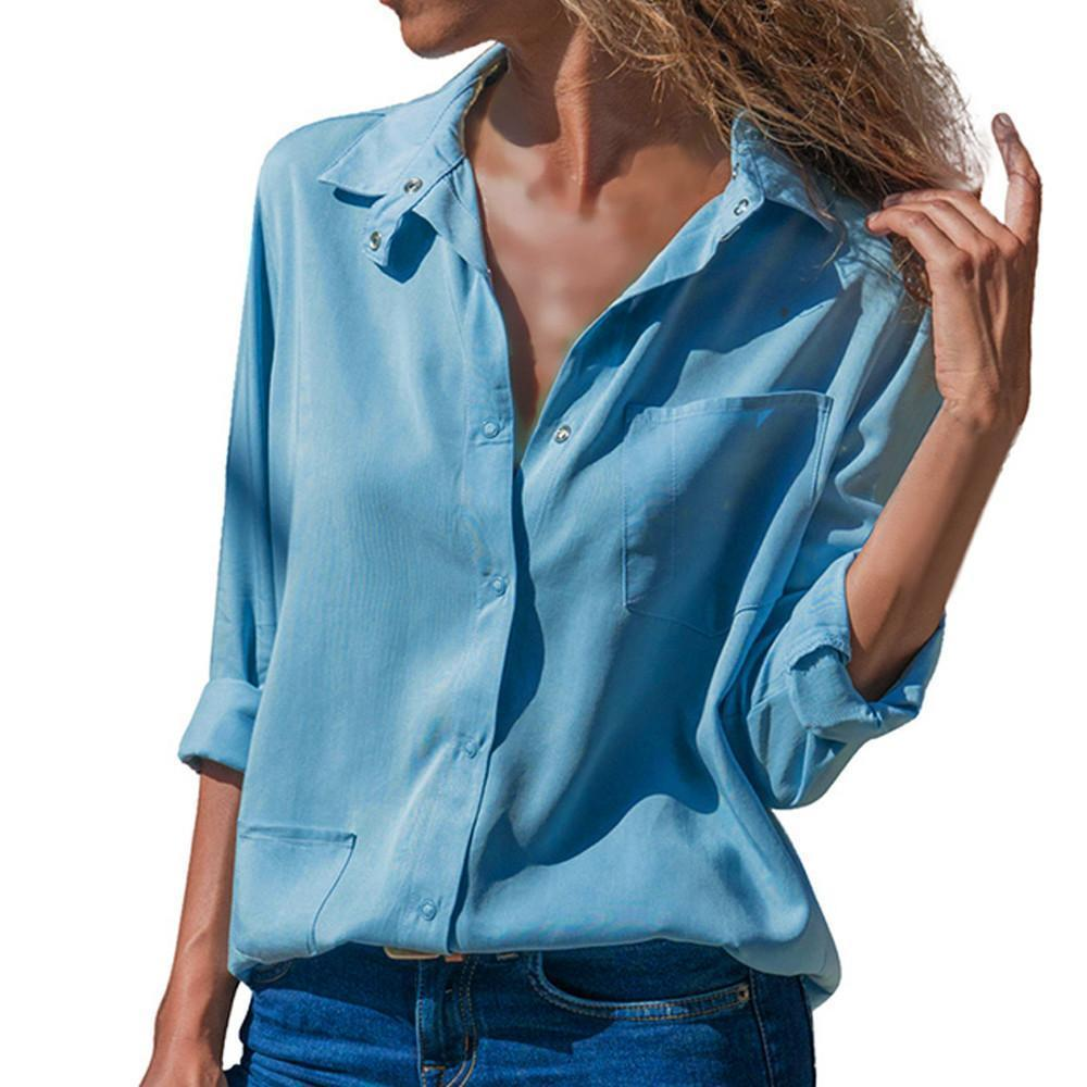 Casual Pure Color Long   sleeved lapel pocket blouse Shirt