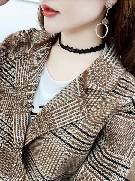 Casual Plaid Tailored Collar Knit Cardigan