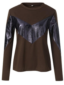 Fashion Long Sleeve Leather Stitching Loose Sweater