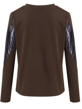 Load image into Gallery viewer, Fashion Long Sleeve Leather Stitching Loose Sweater