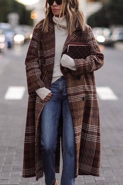 Fashion Grid Long Sleeve Overcoat