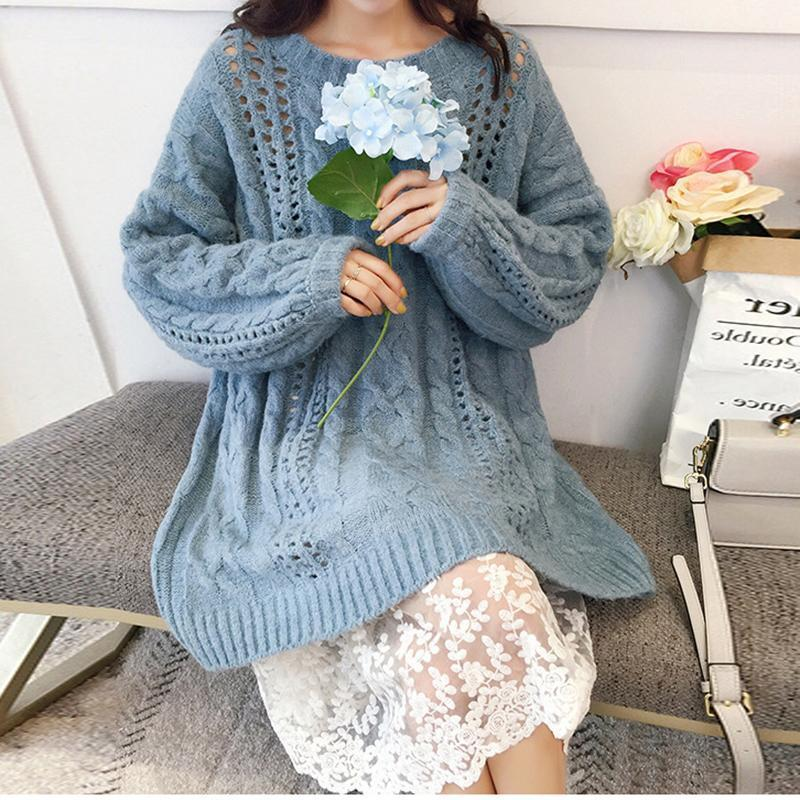 Casual Round Neck Pure Colour Loose Knitted Sweater