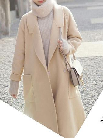 Fashion Long Sleeve Woollen Pure Colour Coat