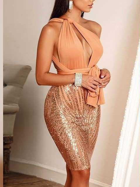 Casual Sequins Sleeveless High-Waist Bodycon Dresses