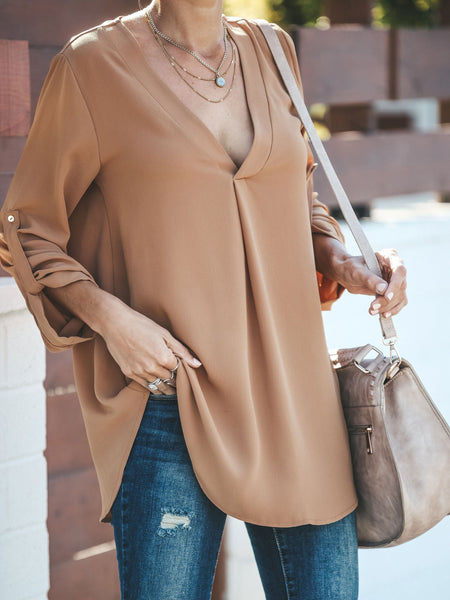Fashion V Neck Pure Colour Long Sleeve T-Shirt