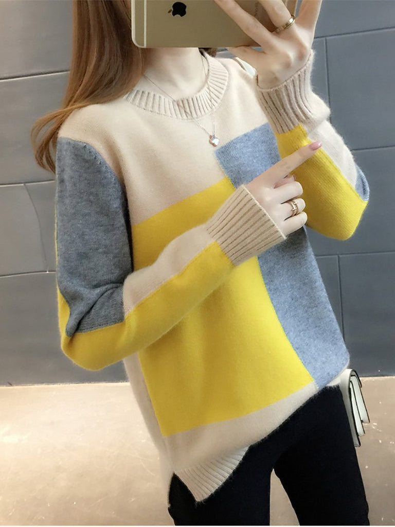 Casual Printed Oclour Round Neck Loose Sweater