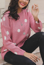 Load image into Gallery viewer, Casual Round Neck Polka Dot Loose Long Sleeve Knitwear
