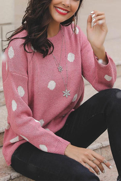 Casual Round Neck Polka Dot Loose Long Sleeve Knitwear