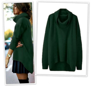 Casual Fashion High Collar Long Sleeves Slim Plain Sweater