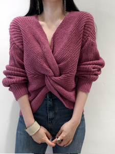 Fashion Cross Pleat Pure Colour Knitted Sweater