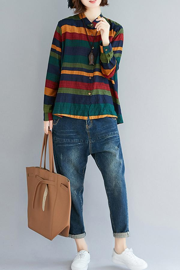 Fashion Striped Loose Long Sleeve Stand Collar Shirt