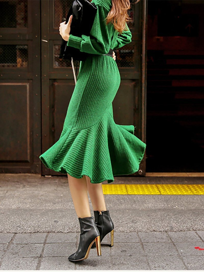 Fashion Pure Colour High Collar Waist Knitted Dresses